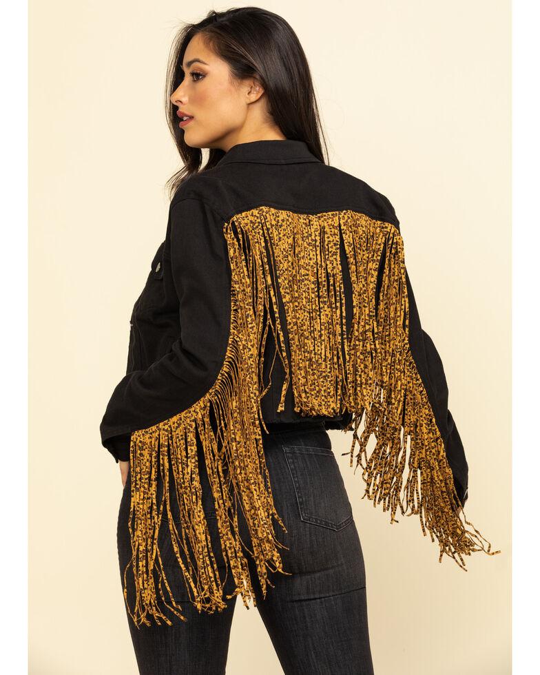 Honey Creek by Scully Women's Leopard Fringe Denim Jacket , Black, hi-res