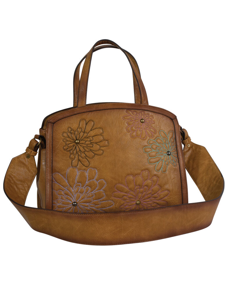 Catchfly Women's Annie Flower Embroidery Tote Bag, Brown, hi-res