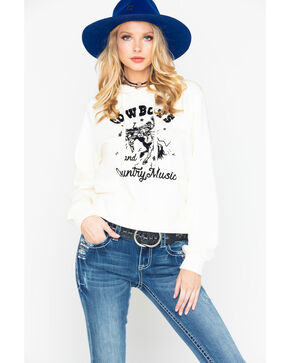 IOC Women's Cowboys & Country Music Graphic Long Sleeve Hoodie , Ivory, hi-res