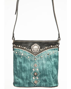 Shyanne Womens Distressed Antique Silver Concho Messenger Bag Turquoise Hi Res
