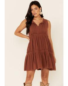 Wishlist Women's Tiered A-Line Dress, Brown, hi-res