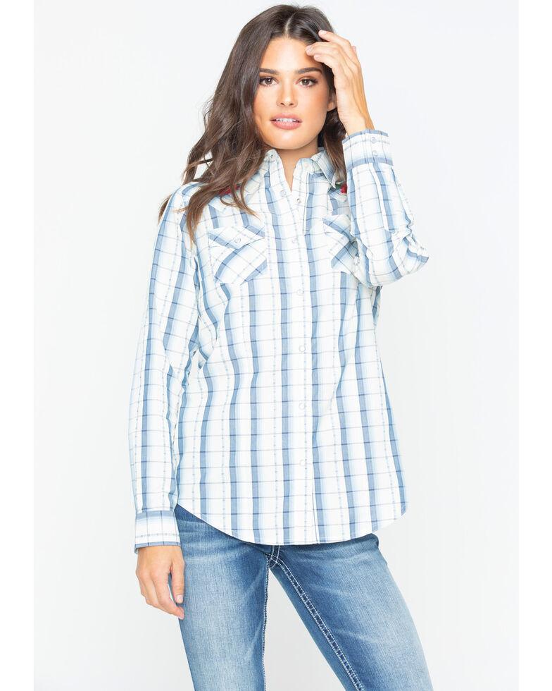 Wrangler Women's Plaid Pearl Snap Long Sleeve Western Shirt , Blue, hi-res