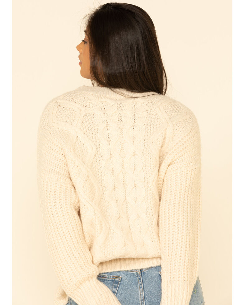 Wishlist Women's Cable Twisted Knit Sweater , Natural, hi-res