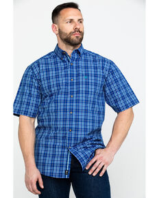 Ariat Men's Narciso Mazarine Med Plaid Short Sleeve Western Shirt , Blue, hi-res