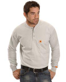 Wrangler Men's Flame Resistant Henley Long Sleeve Work Shirt , Grey, hi-res