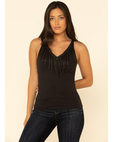 Idyllwind Women's Songstress Beaded Fringe Tank Top, Black, hi-res