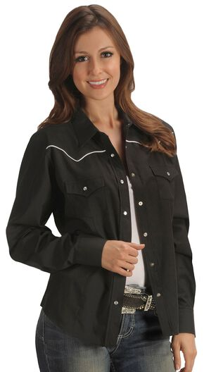 Ely Solid Black with White Piping Western Shirt, Black, hi-res