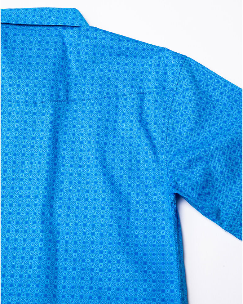 Panhandle Select Boys' Blue Peached Poplin Print Short Sleeve Western Shirt , Blue, hi-res