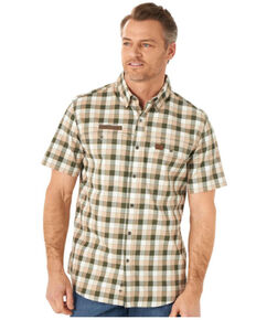Wrangler Riggs Men's Olive Small Plaid Vented Short Sleeve Button-Down Work Shirt - Big , Olive, hi-res