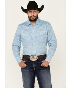 Wrangler 20X Men's Blue Abstract Geo Print Long Sleeve Western Shirt , Blue, hi-res