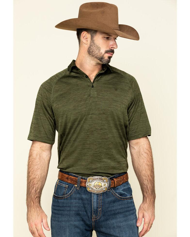 Ariat Men's Olive Charger Short Sleeve Polo Shirt , Olive, hi-res