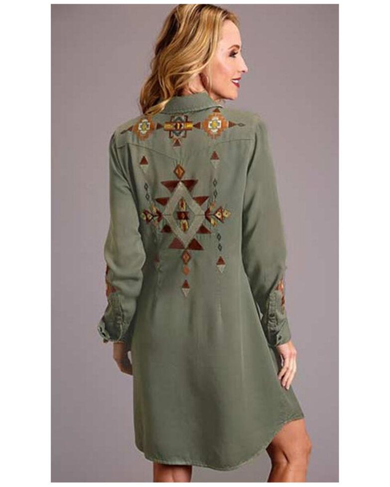 Stetson Women's Olive Aztec Embroidered Shirt Dress , Olive, hi-res