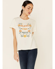 Cut & Paste Women's Bless This Mess Floral Graphic Short Sleeve Tee  , Ivory, hi-res