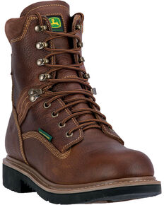 """John Deere Men's 8"""" Waterproof Lace-Up Work Boots, Brown, hi-res"""