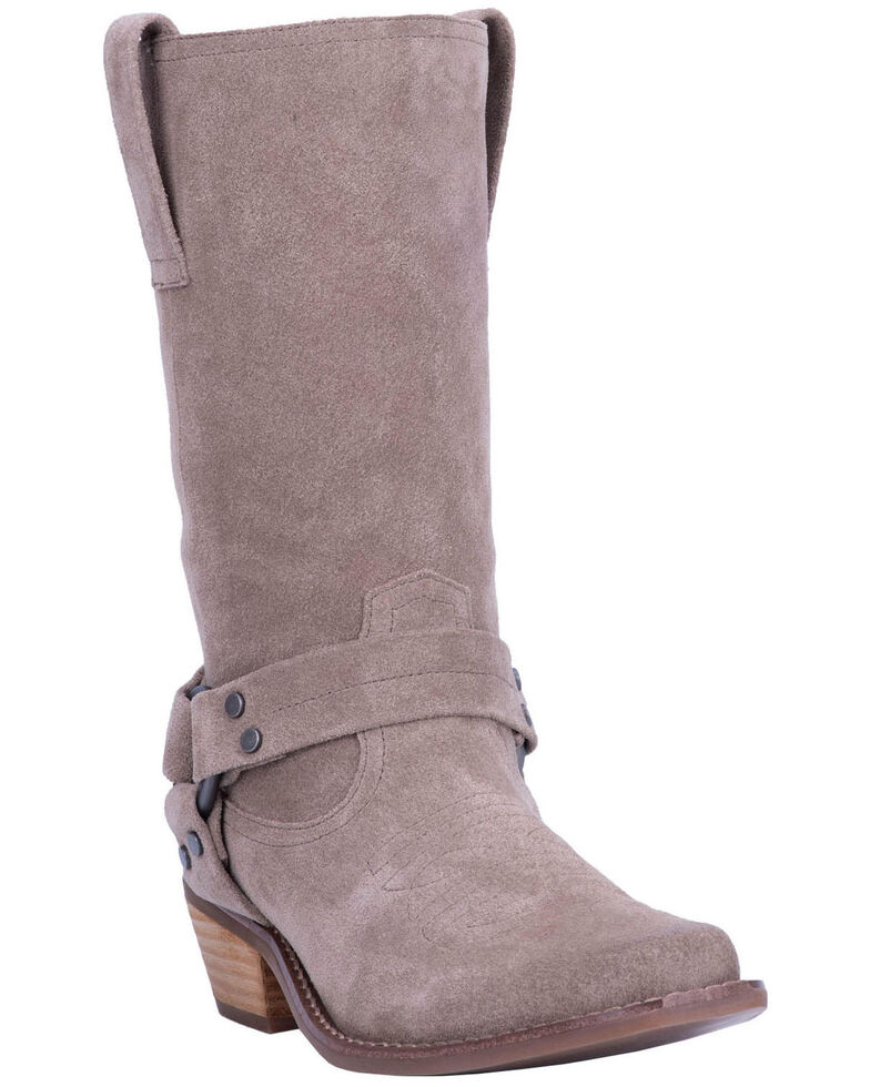 Dingo Women's Taupe Harness Moto Boots - Snip Toe, Taupe, hi-res