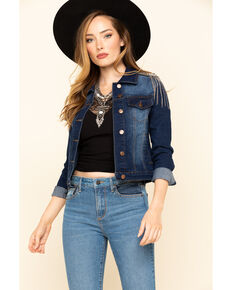 Rodeo Quincy Women's Rodeo Rose Sequin Tassel Denim Jacket , Blue, hi-res