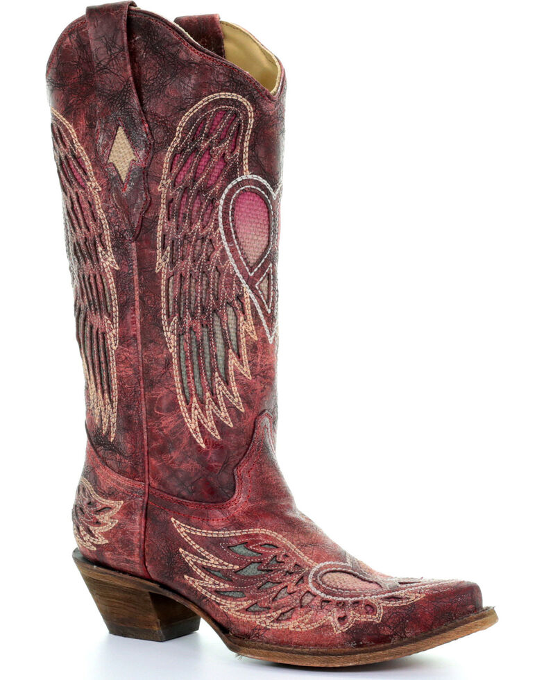 Corral Women's Red Wings And Heart Inlay Boots   Snip Toe by Corral