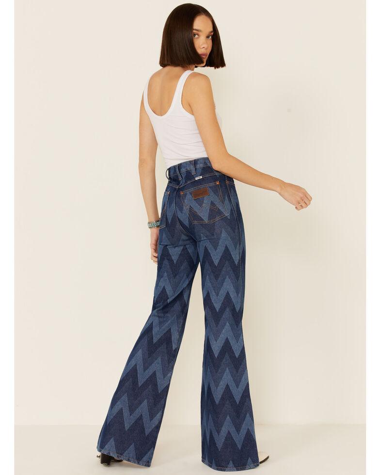 Wrangler Modern Women's Chevron Print Flare Jeans, Blue, hi-res