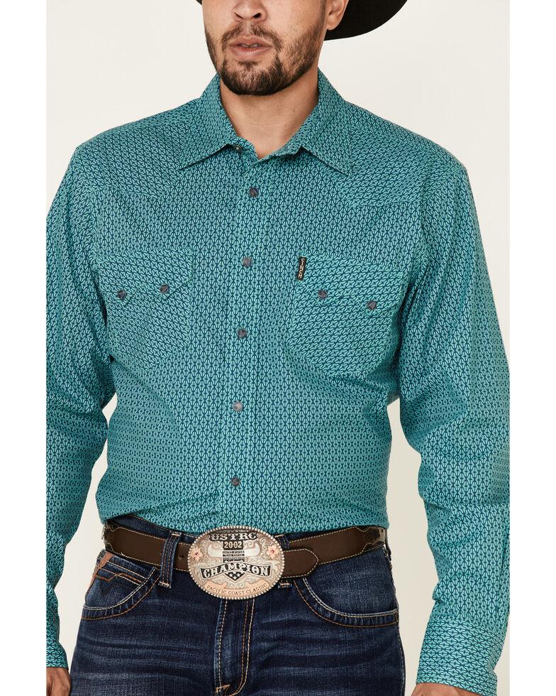Cinch Men's Modern Fit Navy Aztec Geo Print Long Sleeve Western Shirt , Navy, hi-res