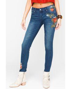 Grace in LA Women's Floral Embroidered Skinny Jeans, Indigo, hi-res