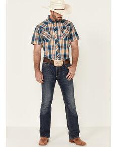 West Made Men's Tile Plaid Short Sleeve Snap Western Shirt , Blue, hi-res