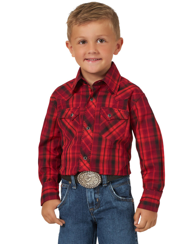 Wrangler 20X Boys' Red Plaid Fashion Snap Long Sleeve Western Shirt , Red, hi-res