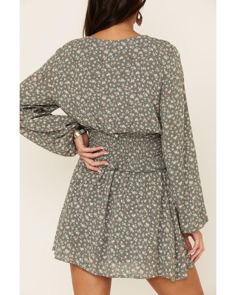 Peach Love Women's Sage Smocked Waist Dress, Sage, hi-res