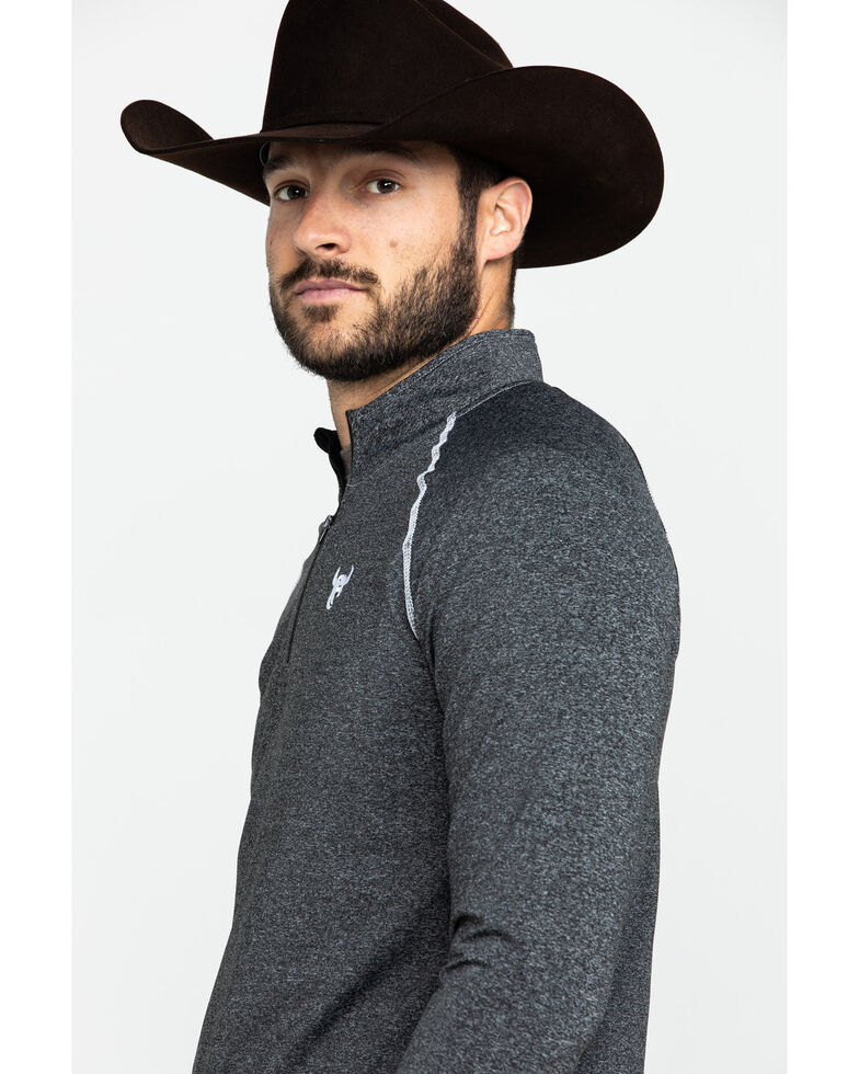 Cowboy Hardware Men's 1/4 Zip Sports Knit Heather Pullover , Black, hi-res