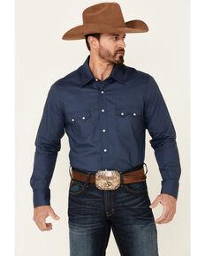 Rock & Roll Denim Men's Navy Dot Geo Print Long Sleeve Snap Western Shirt , Navy, hi-res