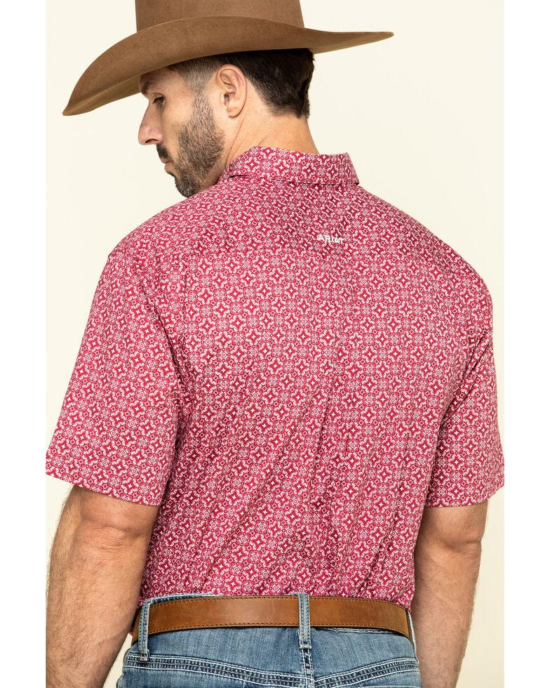 Ariat Men's Tillsmans Red Geo Print Short Sleeve Western Shirt - Big , Red, hi-res