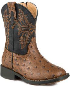 Roper Toddler Boys' Brown Ostrich Vamp Western Boots - Square Toe , Brown, hi-res