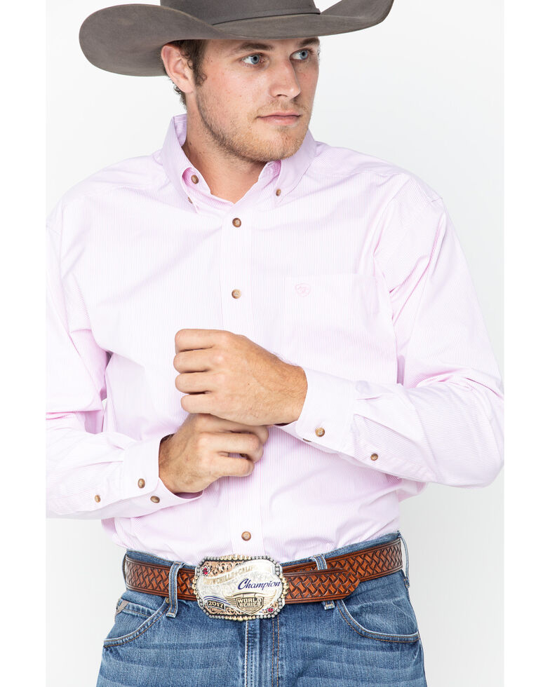 Ariat Men's Striped Long Sleeve Shirt, Pink, hi-res