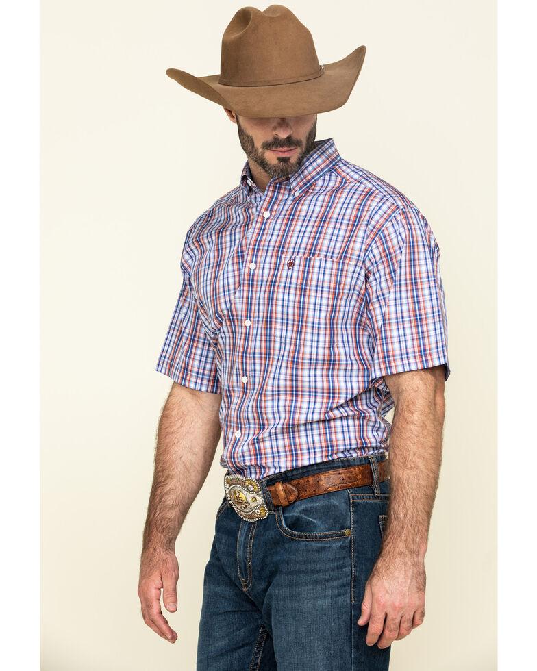 Ariat Men's Wrinkle Free Wayne Small Plaid Short Sleeve Western Shirt - Tall , Multi, hi-res