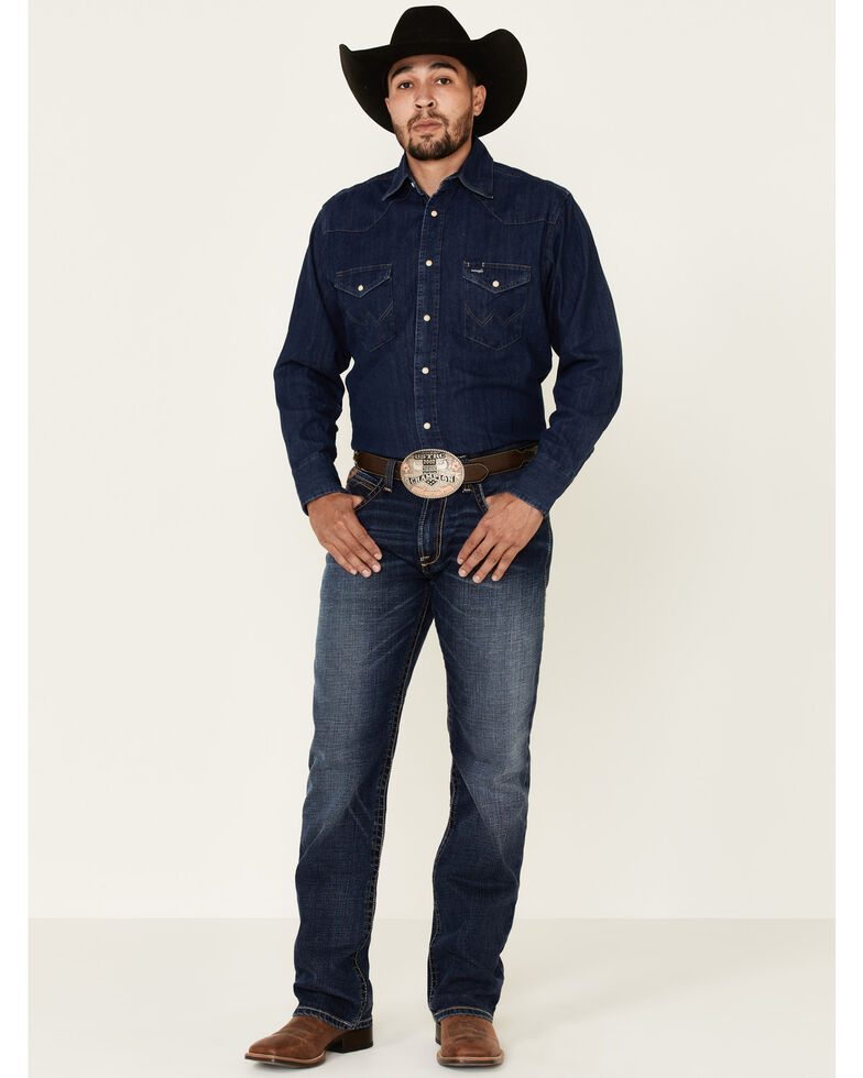 Wrangler Men's Dark Denim Solid Long Sleeve Western Shirt , Dark Blue, hi-res