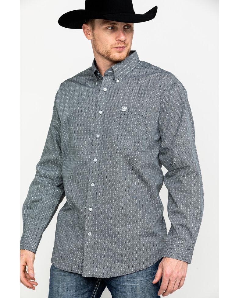Cinch Men's Grey Tencel Geo Print Long Sleeve Western Shirt - Big , Grey, hi-res