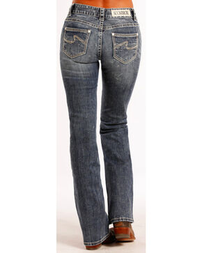 Rock & Roll Cowgirl Women's Mid-Rise Boot Cut Jeans , Indigo, hi-res