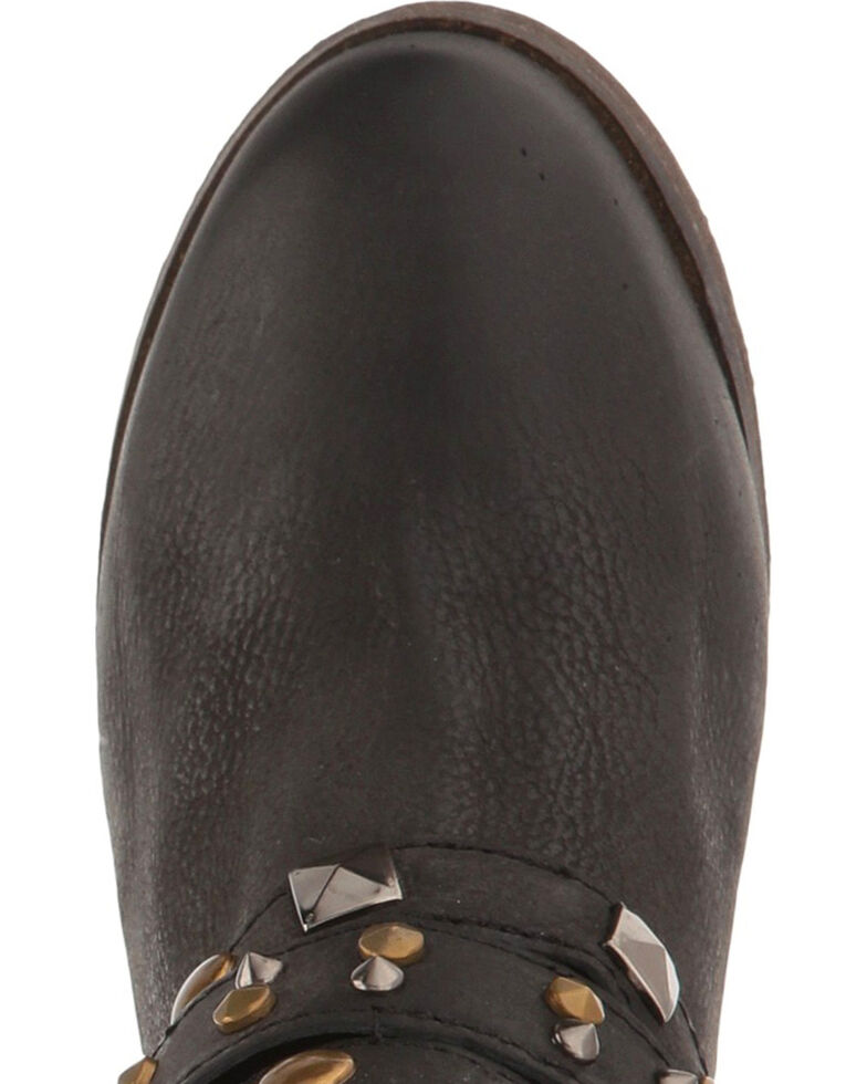 Circle G Women's Black Studded Strap Booties - Round Toe , Black, hi-res
