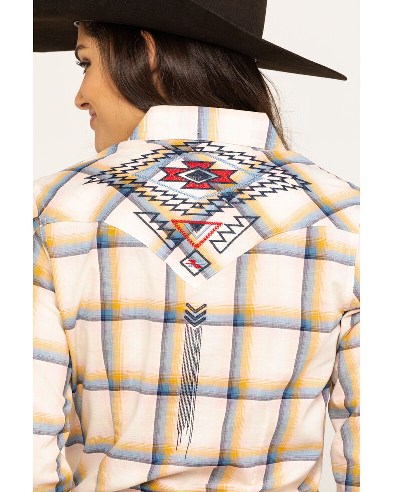 Wrangler Women's Ivory Embroidered Long Sleeve Western Shirt, Multi, hi-res