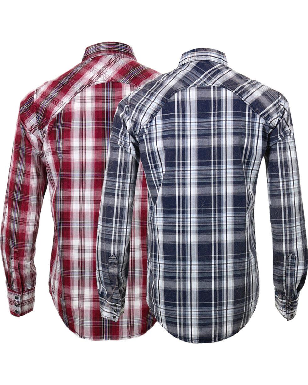 Ely Walker Men's Assorted Plaid Western Shirt, Burgundy/navy, hi-res