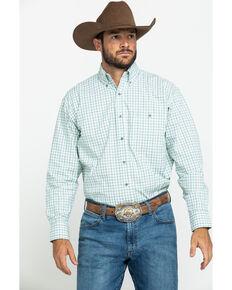 George Strait By Wrangler Men's Mint Small Plaid Long Sleeve Western Shirt , Light Green, hi-res