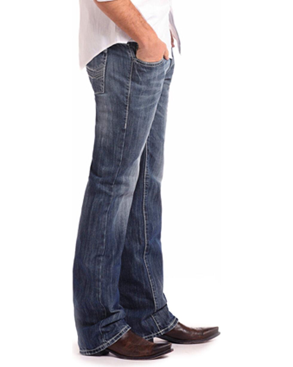 Rock & Roll Cowboy Men's Blue Pistol Abstract Pocket Jeans - Straight Leg , Blue, hi-res