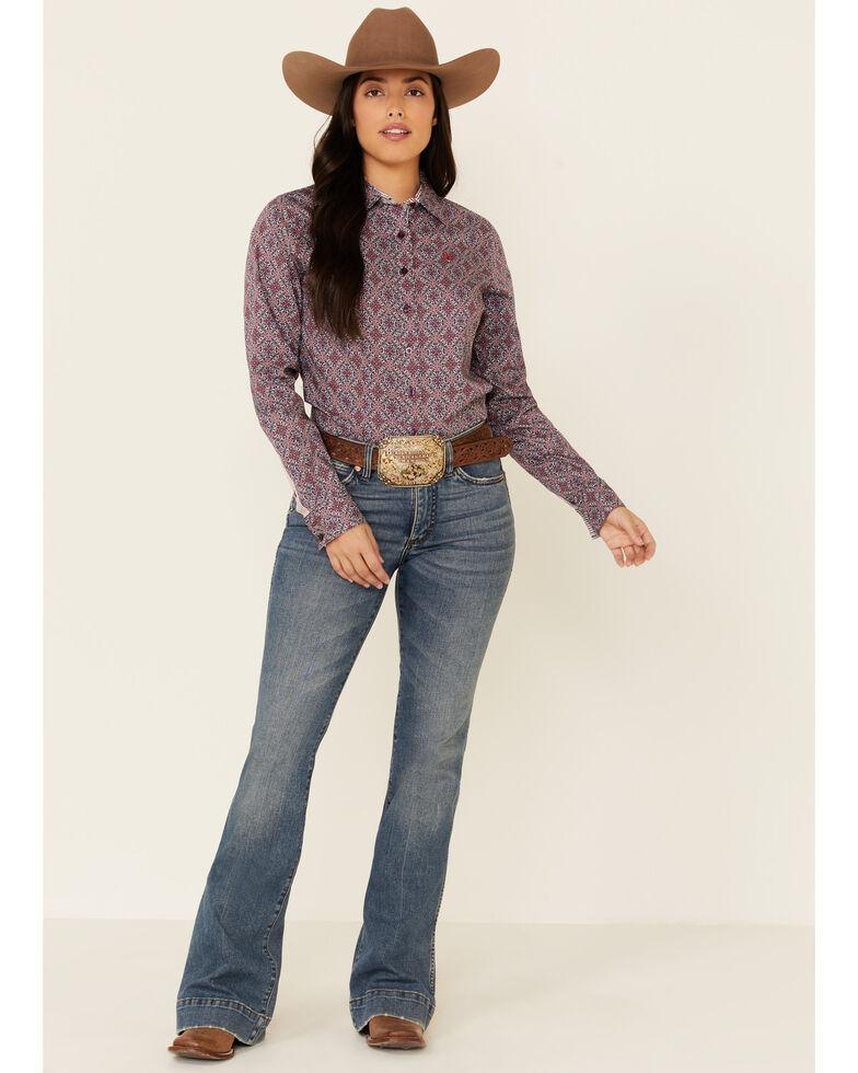 Cinch Women's Purple Diamond Geo Print Long Sleeve Western Core Shirt , Purple, hi-res