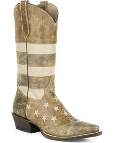 Roper Women's Brown Vintage American Flag Western Boots - Snip Toe , Brown, hi-res