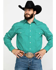 Rough Stock By Panhandle Men's Pinedale Green Geo Logo Long Sleeve Western Shirt , Green, hi-res