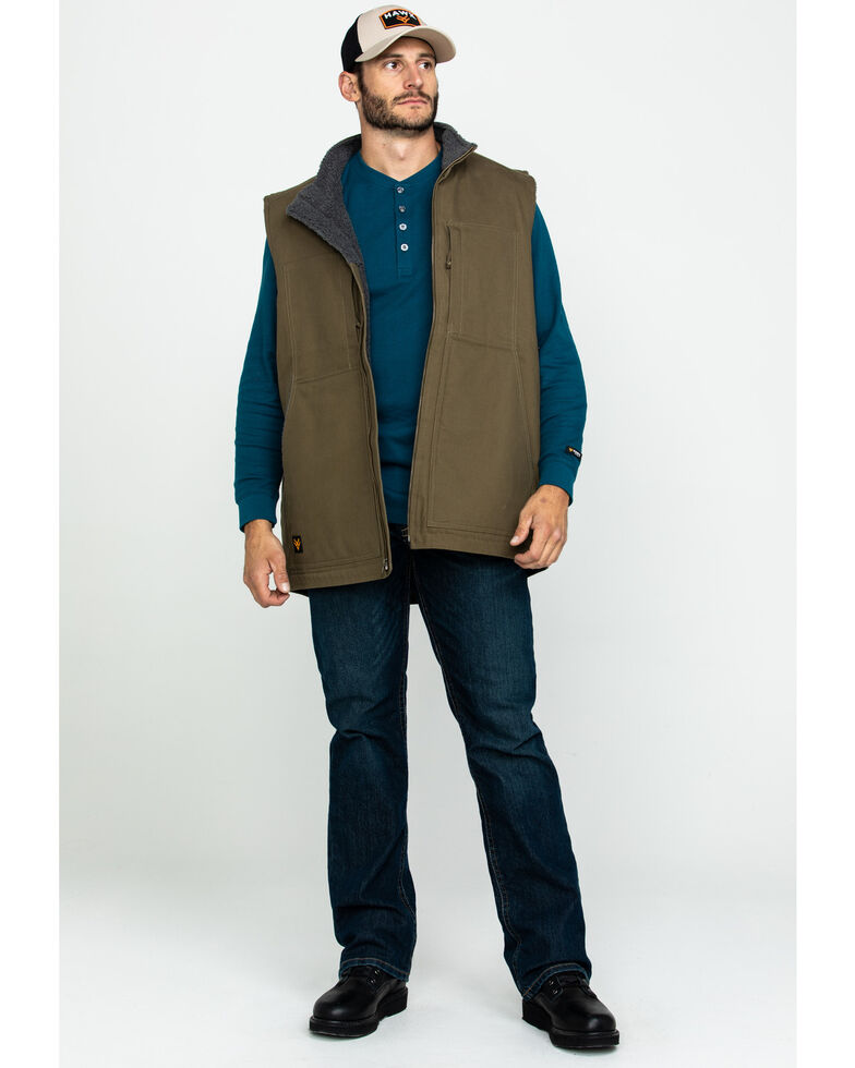 Hawx Men's Olive Canvas Sherpa Lined Work Vest - Tall , Olive, hi-res