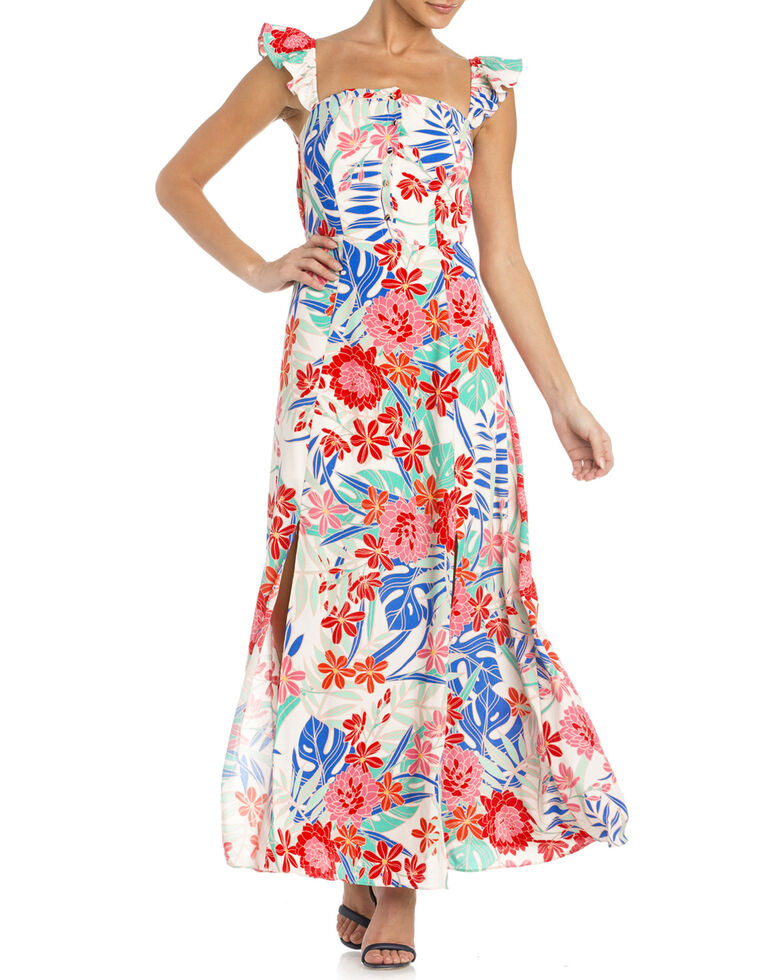 Miss Me Women's Floral Ruffle Sleeve Maxi Dress, White, hi-res