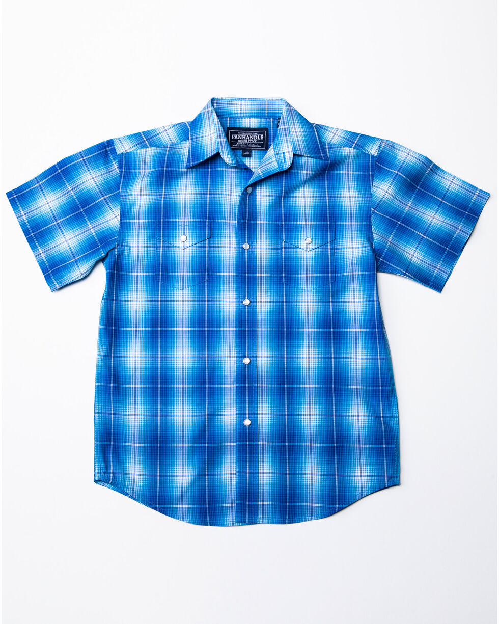 Panhandle Boys' Rough Stock Lindsey Antique Plaid Short Sleeve Western Shirt , Blue, hi-res