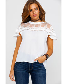 5f76a1a3 Red Label by Panhandle Women's Lace Ruffle Short Sleeve Top