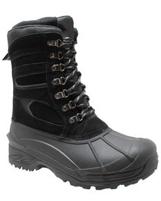 Winter Tecs Men's Suede Winter Boots - Round Toe, Black, hi-res