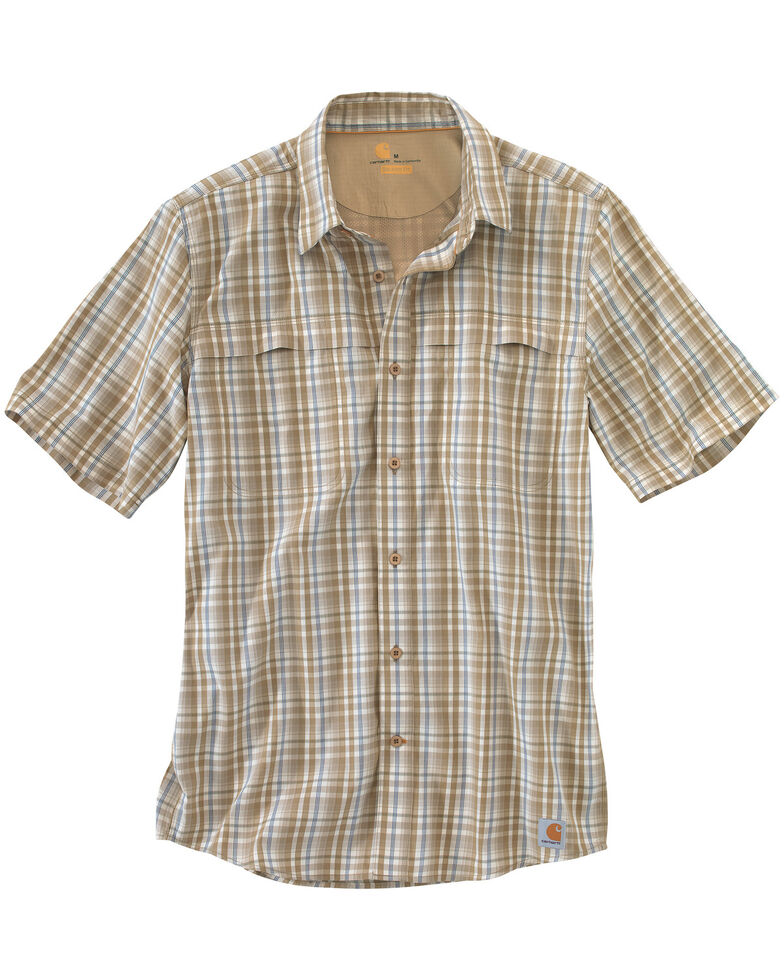 Carhartt Men's Force Plaid Short Sleeve Shirt, Khaki, hi-res